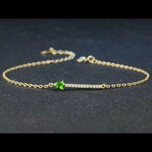 Green Diopside & Gold Plated Bracelet 10850